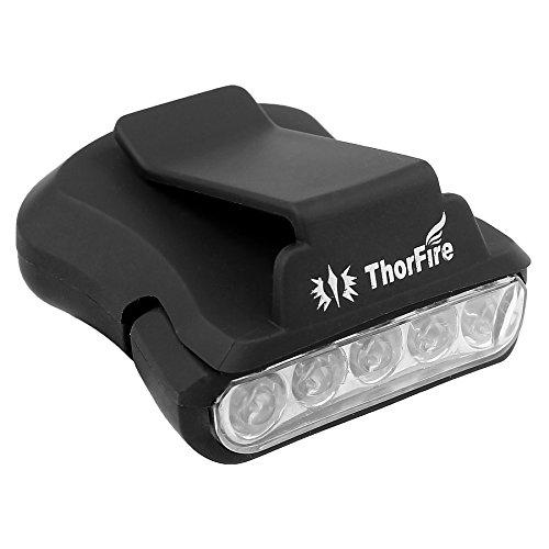 ThorFire ヘッドライト LED キャップライト 超高輝度 (5LED 30 ルーメン)【連続点灯24時間】帽子に挟んで使う 夜釣り ジョギングに使うLEDライト