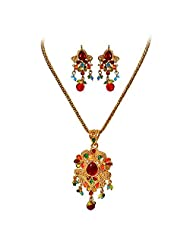 Surat Diamonds Multi-Colored Stone & Gold Plated Fashion Jewellery Set For Women (PS97)