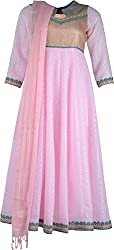 ZARASBOUTIQUE Women's Net Chudidar (SKW122915927_2XL, Pink and Gold, 2XL)