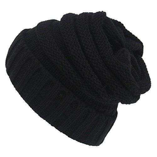 Passionate Adventure Men Crochet Baggy Beanie Cap Warm Soft Thick Hat Black