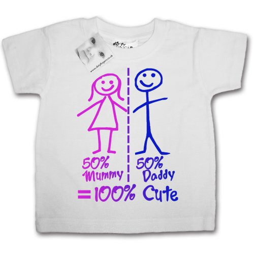 Dirty Fingers - 50% Mummy, 50% Daddy = 100% Cute - Baby & Toddler T-shirt 12-18 months, White