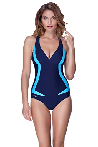 AQUA-SPEED® GRETA Costumi da Bagno Donne (3 Varianti di colore Taglie 36-48), Couleur:Farbe 04 / Navy - Blau;Taille:44