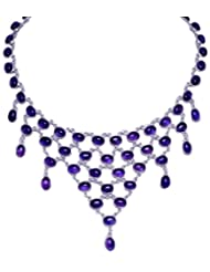Gehna Amethyst Gemstone Studded Necklace Made In .925 Sterling Silver