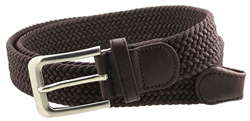 Mens Braided Elastic Stretch Belt Leather Tipped End and Silver Metal Buckle (Brown-L)