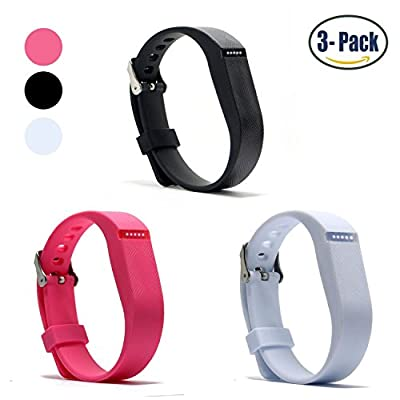 Ldaai Replacement Bands for Fitbit Flex, Fashion Adjustable Silicone Sport Wristband with Chrome Clasp and Fastener Buckle, Prevent Tracker Falling Off (No Tracker)