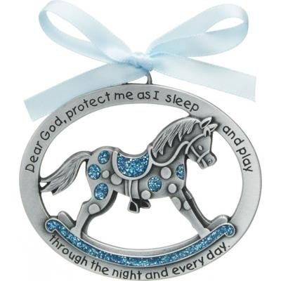 BLUE ROCKING HORSE CRIB MEDAL W/BLUE RIBBON CARDED/baby Showers/Newborn