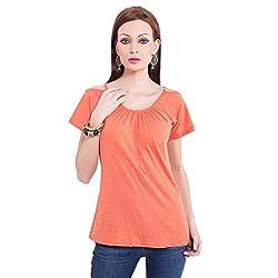 TUNTUK Women's Guntur Top Orange Cotton Top