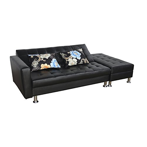 HomCom PU Leather Folding Sofa Couch Sleeper Bed w/ Storage Ottoman - Black