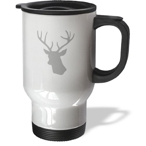 Tm_179695_1 Inspirationzstore Deer Designs - Grey Deer Head Silhouette On White. Modern Gray Stag With Antlers - Travel Mug - 14Oz Stainless Steel Travel Mug