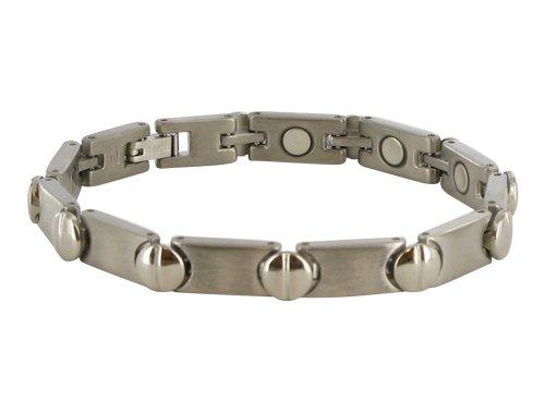 7 MM Silver Tone Titanium Magnetic Link Bracelet 7.5″