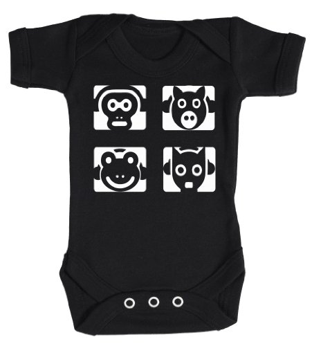 Baby Buddha - Animal Headphones Babygrow Baby Clothes Newborn Black