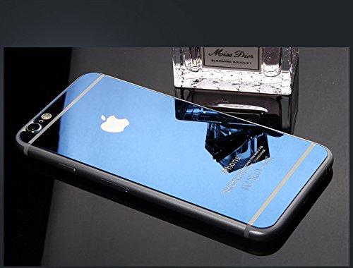 [ノーブランド品] iPhone6 iPhone6s iPhone6plus iPhone6splus専用衝撃保護ガラスフィルム 液晶保護フィルム 鏡面ミラーキラキラ光るバックプレート前後鏡面ガラスフィルム 前後セット 表面硬度9H (iPhone6/6s, ブルー)