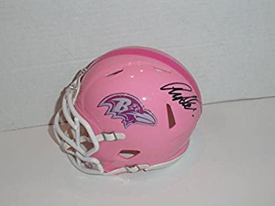 Anquan Boldin Signed Pink Breast Cancer Mini Helmet Baltimore Ravens Speed - Autographed NFL Mini Helmets