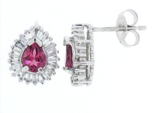 0.56Ct Pear Shaped Pink Tourmaline Earring with Diamonds in 14Kt White Gold