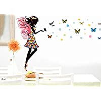 Alrens_DIY(TM)Angel Wings Beautiful Girl Flowers Butterfly DIY Wall Stickers Removable Home Decoration Living...