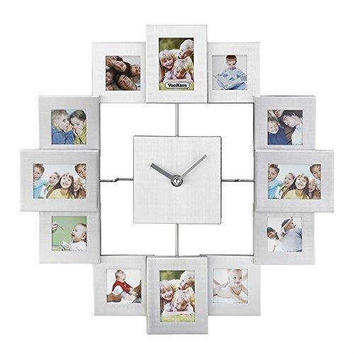 VonHaus 12 Picture Aluminum Photo Frame Wall Clock (Silver)