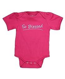 RuffleButts® Infant / Toddler Girls Fuchsia So Blessed One-Piece - Fuchsia - 18-24m