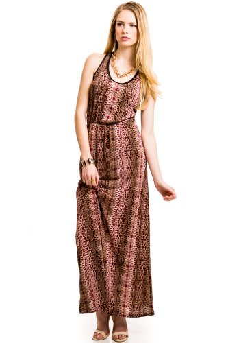 Tribal Print Mesh Back Maxi In Red/Brown