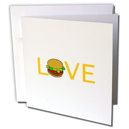 Gc_180466_1 Inspirationzstore Love Series - Love Burgers - Yellow Text With Hamburger O - Food Foodie Typography - Greeting Cards-6 Greeting Cards With Envelopes