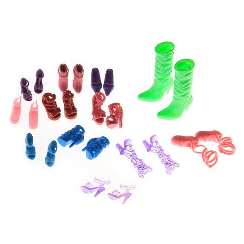 FACILLA® 24Pcs=12Pairs Different Color Mix Shoes Boots For Barbie Dolls Hot - 1
