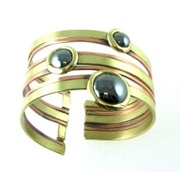 Copper & Brass Bangle with Haematite