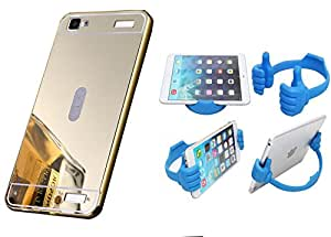 Novo Style Back Cover Case with Bumper Frame Case for Vivo Y37 Golden + Ok Stand For Smartphones And Tablets