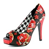 Iron Fist Black & Red Slow Dance Peep Toe Sugar Skull Platform Pump Heels