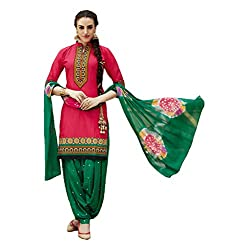 Shreenath Creation Women's Cotton Embroidered Festival Patiala Salwar Suit (059Pink & Green Free size)