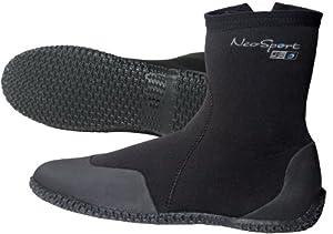 NeoSport Wetsuits Premium Neoprene 5mm Hi Top Zipper Boot, Black, 4 - Water Shoes, Surfing & Diving