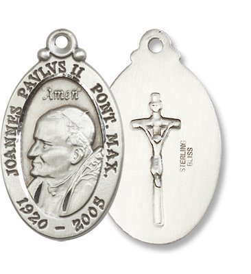 Sterling Silver Pope John Paul II Medal Pendant with 24