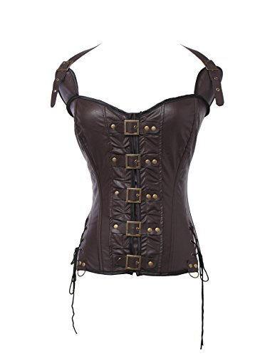 [UrHot Halter Sweetheart Leather Overbust Buckle-up Body Shapewear Corset Bustier] (Brown Leather Corset)