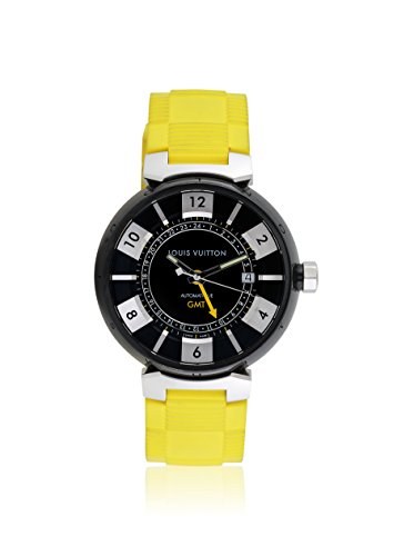 Louis Vuitton Men's Pre-Owned Tambour GMT Black/Yellow Rubber Watch
