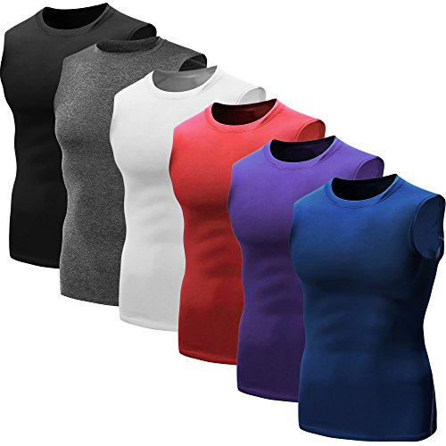 Neleus-Mens-3-Pack-Sport-Compression-Under-Base-Layer-Athletic-Muscle-Tank-Top