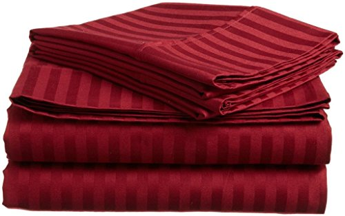 Rajlinen Luxury 600-Thread-Count Sateen RV King Sheet Set 6 PCs , Burgundy Stripe