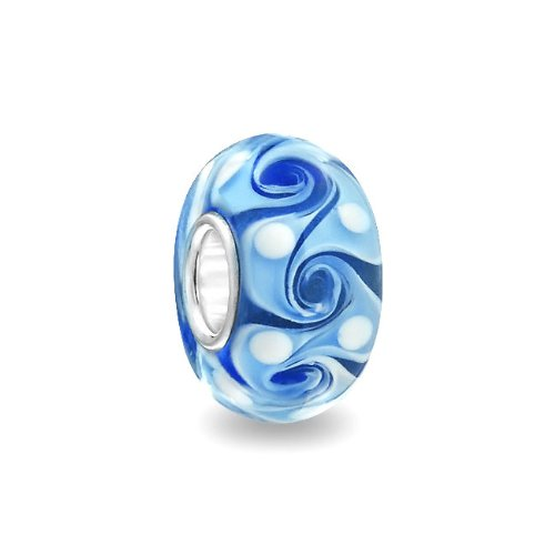 If you need a little reminder of warm Caribbean waters, just add our Blue Swirl 925 Sterling Silver Murano Glass Bead Troll Pandora Compatible to your ocean, sea or sky themed story bracelet and you w