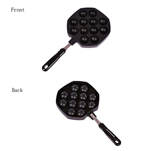 Takoyaki Pan, Keeper Nonstick Cast Aluminum Alloy Baking Tray Takoyaki Maker, 12 Holes