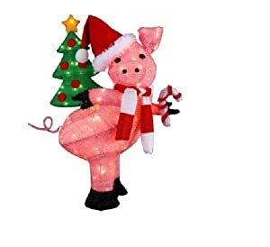 Cute christmas lighted pig holding a holiday for 3 d lighted christmas pig holiday outdoor decoration