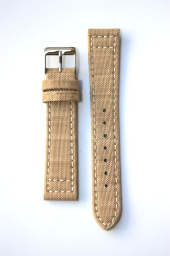 18mm Beige Canvas Watchband with S/S Buckle