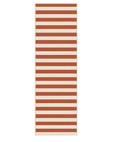 Universal Rugs Garden City Indoor/Outdoor Transitional Runner, Terra, 3' x 8' As You See