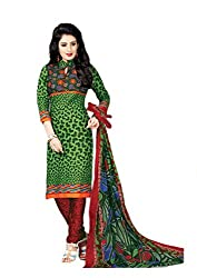 Pruthu Cotton Cotton Printed Dress Material Unstitched (pt_436_Green_Free Size)