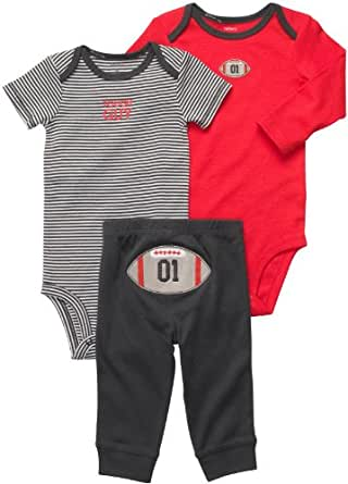 Carter's Baby Boys' 3 Pc Turn Me Around Set - Red/Grey Football - Newborn