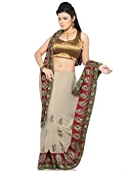 Utsav Fashion Women's Light Beige Faux Georgette Saree with Blouse