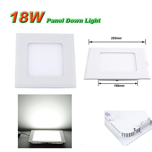 Ljy Led Recessed Ceiling Flat Panel Down Light Lamp (White, 18W Square)