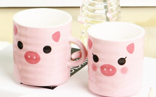 Moyishi 300Ml Happy Little Pink Pig Coffee Milk Ceramic Mug Cup Christmas Birthday Best Gift