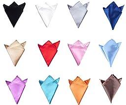 Glittermall 12pcs Men\'s Solid Mixed Color Pocket Squares Hanky Handkerchief Accessories
