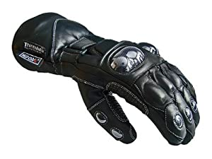 Black Leather Racing Biker Motorbike Motorcycle Waterproof GLoves XL