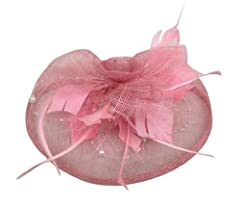 Feather and linen Fascinator Headband on a Clip and Brooch with Peal(PINK)