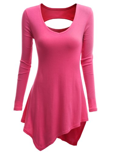 Doublju Doublju Womens Jersey Top with Side High-low and Sexy Lip Hole PINK S (KWTS088)