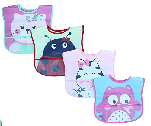 Lovespun Baby Bibs 4 Pack Girls - Waterproof Burp Cloth One Size, Animal Prints