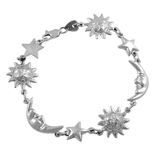 Sterling Silver Sun, Star, and Moon Link Bracelet